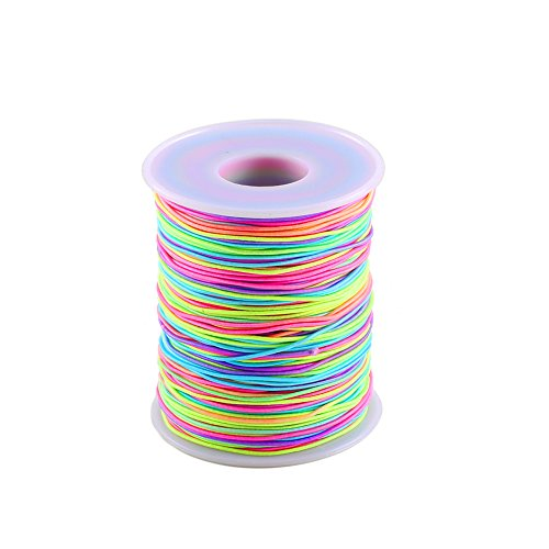 ManYee Elastisch Perlenschnur 1mm Bunte Elastische Faden R& Gummiband Elastische Schnur Regenbogen Beading Thread für Kinder Schmuck Basteln Perlen Armband 100 Meter Lang