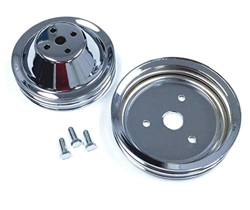 Pirate Mfg 2 Groove Pulley Kit, Short Water Pump, Chrome Steel, Compatible with Chevy SB 283 327 350 V8