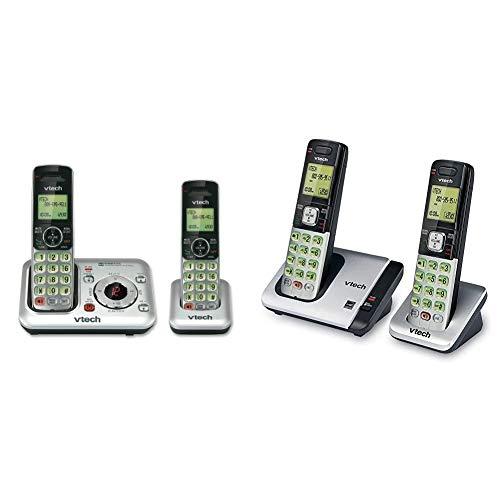 VTech CS6429-2 2-Handset DECT 6.0 Cordless Phone, Silver/Black & CS6719-2 2-Handset Expandable Cordless Phone with Caller ID/Call Waiting, Handset Intercom & Backlit Display/Keypad