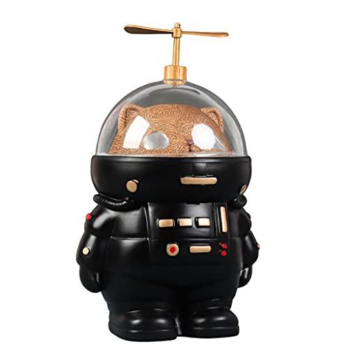 FEANG Hucha de resina astronauta puede almacenar y llevar la luz a prueba de caídas hucha regalo de cumpleaños para niños y niñas adultos (color negro)