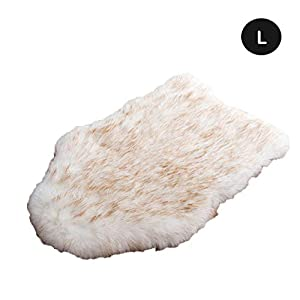 laamei Dog Bed Mat, Orthopedic Dog Bed, Deluxe Dog Crate Pad Ultra Soft Durable Self Warming Kennel Mattress for Dogs and Cats Premium Faux Sheepskin Rug Fur Throw Cover Large Cream
