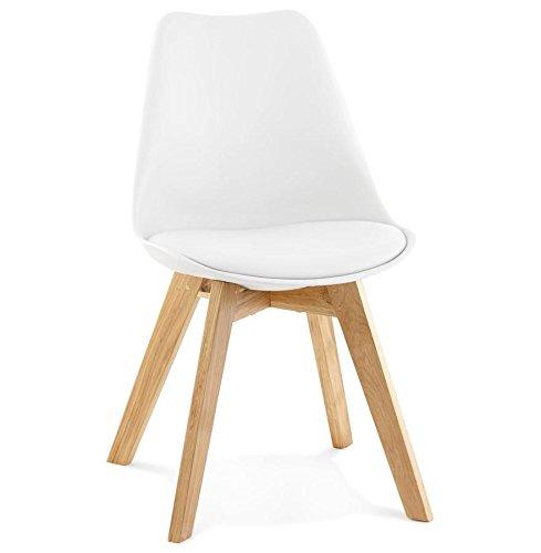 Chaise similicuir avec pied en chêne TYLIK (BLANC)