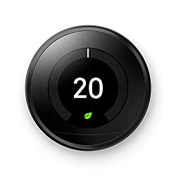 Google, T3016US, Nest Learning Thermostat, 3rd Gen, Smart Thermostat, Black, Works With Alexa