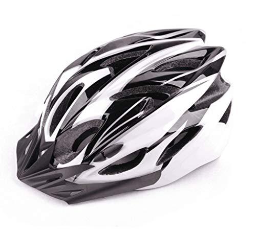 Casco de bicicleta con visera desmontable, luz trasera y mosquitera acolchada, ajustable, ligero, para adultos, hombres y mujeres, jóvenes adolescentes, Unisex adulto, Blanco y negro.