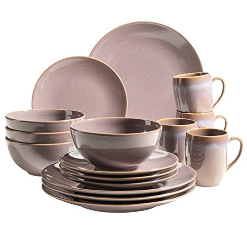 MÄSER 931912 Serie Ossia - Vajilla para 4 personas (cerámica, 16 piezas), diseño vintage mediterráneo, color marrón