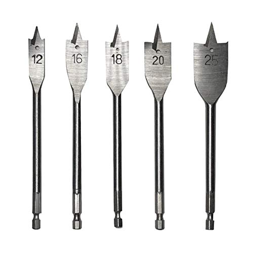 better18 5pcs Spade Drill Bit Set, Wood Flat Drill Bits Set, Paddle Flat Bits for Woodworking, Includes 5 Common Sizes, 12mm/16mm/18mm/20mm
