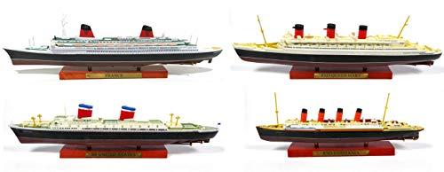OPO 10 - Los mit 4 Transatlantiklinern: Frankreich + Queen Mary + USA + Lusitania - Sammlung Paquebot du Monde Atlas 1: 1250 (02 + 03 + 05 + 07)