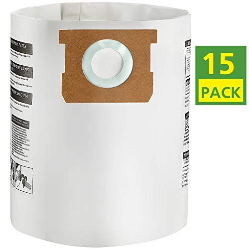 iSingo 15 Pack Shop Vac Bags 9066100, 90661 Type E for Shop Vac 5-8 Gallon Vacuum
