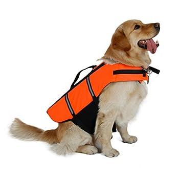 UEETEK Chien Gilet de Sauvetage Réfléchissante Réglable Gilet de Flottaison pour Petit Chien Taille XXS Orange