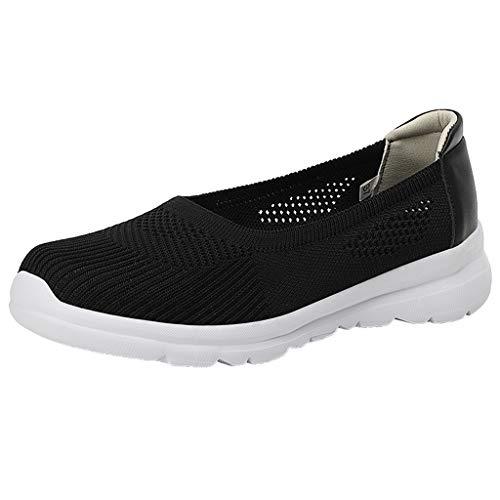 CUTUDE - Mocasines para mujer, con malla antideslizante, para correr, caminar, color Negro, talla 38.5 EU