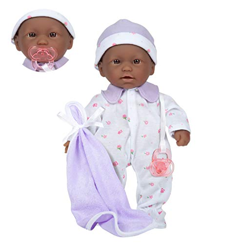 JC Toys La Baby Boutique African American 11 inch Small Soft Body Baby Doll dressed in Purple for Children 12 Months and older