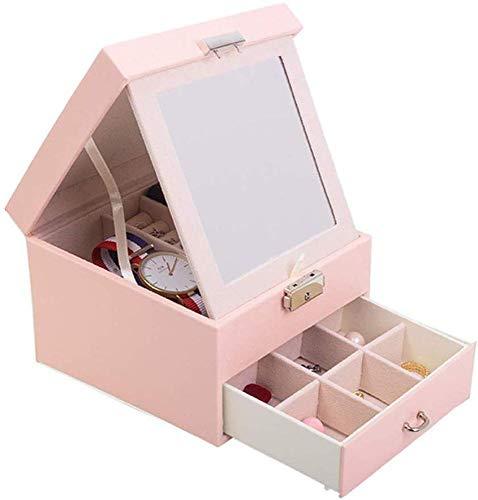 YYANG Schmuckschatulle Schmuck-Organizer Mit Mini-Reisetasche Und Spiegel Kunstleder-Design Mit Samt-Innenausstattung,Pink
