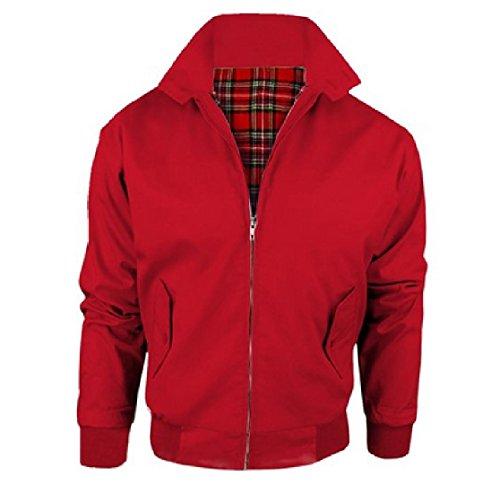 Harrington - Chaqueta para adultos, forro de tartán, estilo vintage/mod de los años 70, británica Rojo rosso S