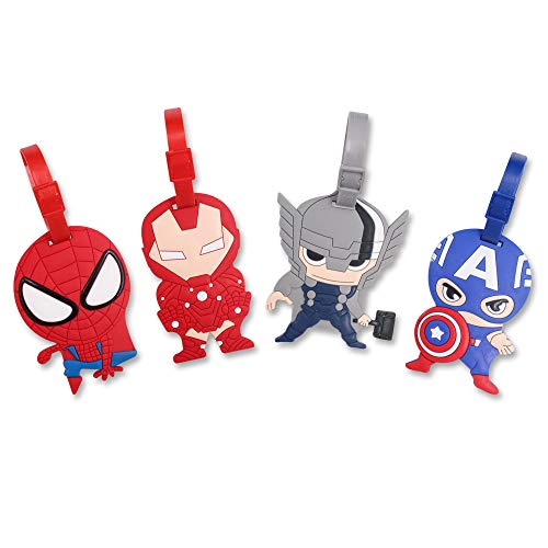 Finex 4 Pcs Set Avengers Captain America Iron Man Spiderman Silicone Travel Luggage Baggage Identification Labels ID Tag for Bag Suitcase Plane Cruise Ships with Belt Strap
