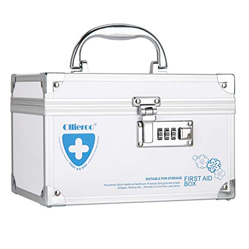 Ollieroo Combination Lock Box for Medication Family Emergency Medical Lock Box First Aid Box 8.5×5.9×5.4 inch White