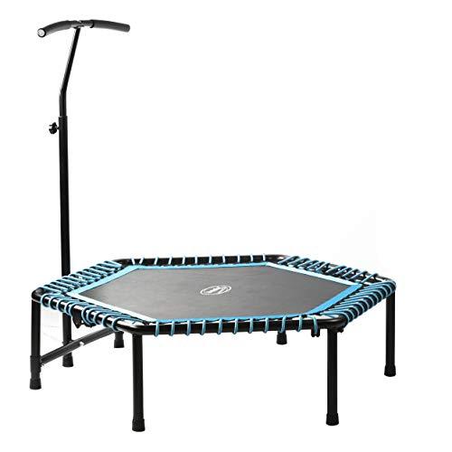 BODYCOACH Fitness-Trampolin 127cm groß klappbar höhenverstellbarer Haltegriff Gummiseil-Federung 6-eckig