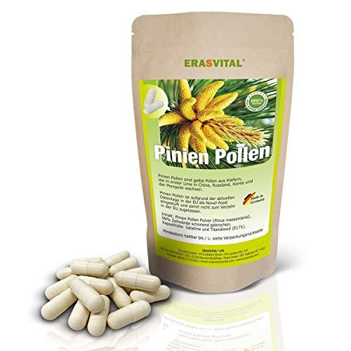ERASVITAL® Pinien Pollen 270 Kapseln Wildsammlung 99{973438f40cfbce1f0be12f94f4a683ffa8dddb349b5047742b7ad912b01349cf} Zellwandgebrochen Kapselhülle aus Gelatine