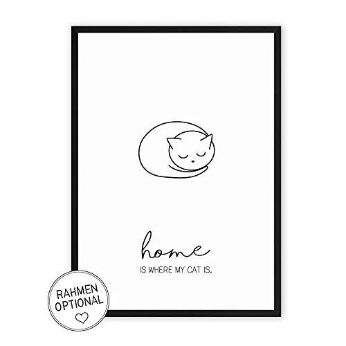 Home is where my Cat is - Kunstdruck auf wunderbarem Hahnemühle Papier DIN A4 -ohne Rahmen- schwarz-weißes Bild Poster zur Deko im Büro/Wohnung/als Geschenk Mitbringsel zum Geburtstag - Katze