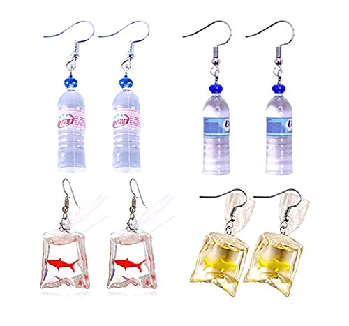 4 Pairs Original Fun Goldfish and Water Bottle Charm Earrings, Water Bag Shape Dangle Drop Earrings for Girls Women Bohemian Creative Unique