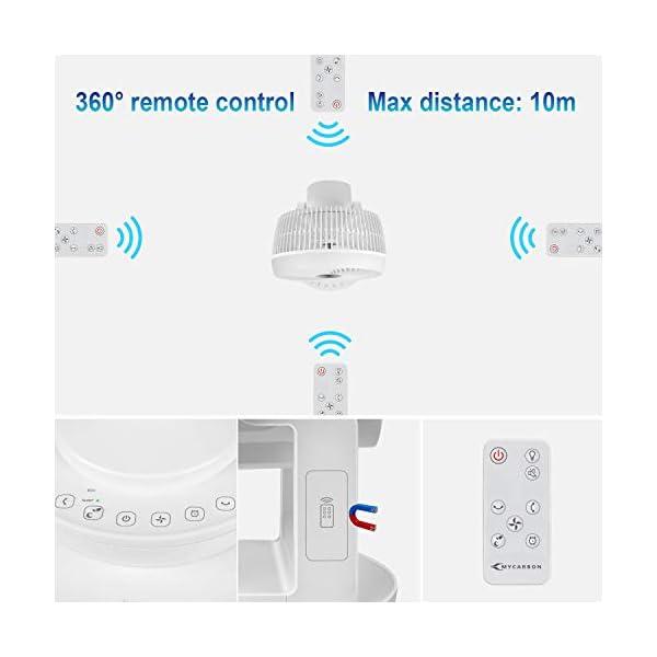 modalit/à Eco Luce e Suono Spentibili Silenzioso 30dB con Telecomando 4 velocit/à Turbo 1800m/³//h 3D Oscillante 90/° MYCARBON Ventilatore da Tavolo