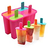 Ice Cream Moulds, DEHUB Ice Lolly Moulds Food Grade Silicone Ice Pop Maker, BPA Free Popsicle Molds Set with Sticks and Drip Guards (Rose Red, 1 Pack)
