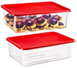 2 Pack - Zilpoo Plastic Food Storage Containers with Lid, Refrigerator, Freezer Covered Cake Keeper, Cupcake Carrier, Christmas Cookie Holder, Lunch Box, 169 oz.