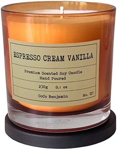 Soy Candle , Highly Scented, Hand Poured, 8.1 oz (Espresso Cream Vanilla)