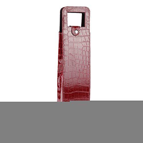 Wein Einkaufstasche Resuable PU Leder Einkaufstasche Weinflasche Tragetasche Einzelflasche Schnaps Geschenktüte für Whisky Brandy Champagner Bier(Red)