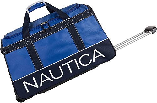 Nautica Wheeled Duffle Travel 26 Inch Large Rolling Lightweight Luggage Bags Duffel, Cobalt Blue, 26