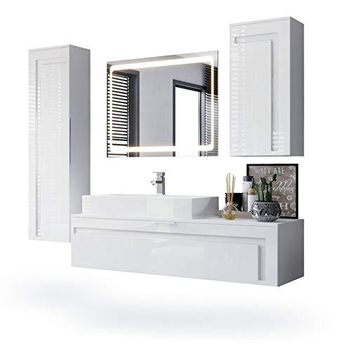 Vladon Badmöbel Komplettset Aloha, Korpus in Weiß matt/Fronten in Weiß Hochglanz mit Absetzungen in Weiß Hochglanz, mit Aufsatzwaschbecken und LED Spiegel