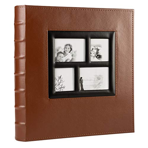 KALOLIA Photo Album 4x6 600 Pockets Sewn Bonded Black Pages Large Leather...