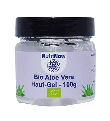 NutriNow Bio-Aloe Vera Haut-Gel, 100% natürlich, 1x 100g, ohne chemische Konservierungsmittel, stattdessen mit 1% essentiellen Ölen (Bio-Orangenöl und Bio-Zitronengrasöl)