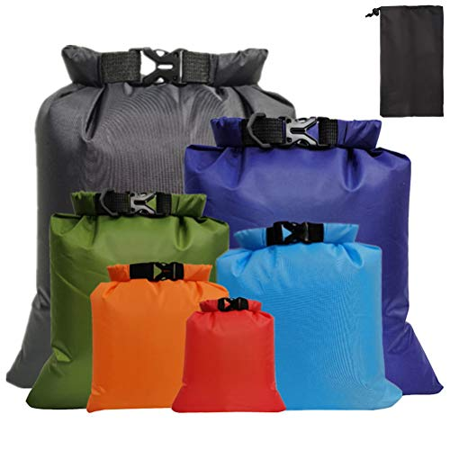 kuou 6 Pack WaterProof Dry bags, Lightweight Dry Sacks Set Floating Dry Sacks for Rafting Boating Multicolor(1.5L+2.5L+3L+3.5L+5L+8L)
