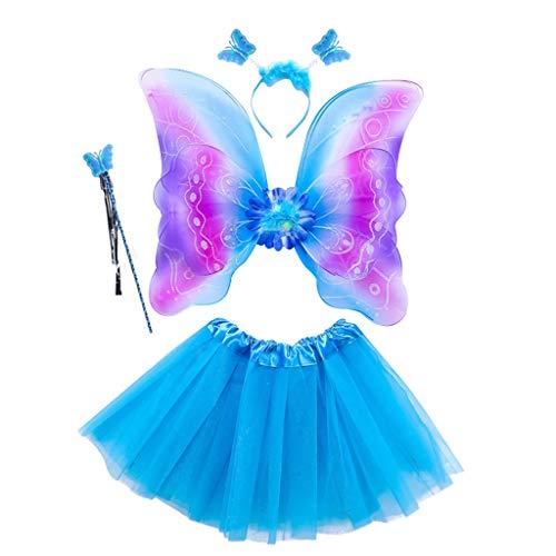 Juego de 4 piezas de disfraz de hada para niñas, con alas de arcoíris de tres capas, tutú, vestido mágico y diadema para princesa, cosplay 3-8T 3 talla única