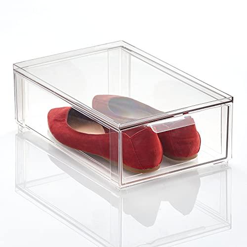 mDesign Caja de plástico Transparente – Organizador de armarios apilable Plano con cajón extraíble – Caja para Guardar Zapatos, Accesorios y Otros Objetos – Transparente
