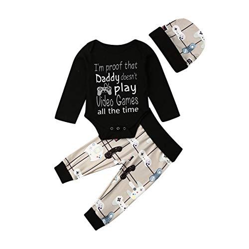 Pasgeboren Baby Jongens Leuke Lange Mouw Romper Outfits Top + Broek + Hoed Herfst Winter 3 Stks Set Kleding