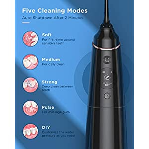 Liberex Oral Munddusche Elektrisch mit OLED-Display - IPX7 Wasserdicht Wasser Flosser, Irrigator Zahnreiniger mit 5 Modi(Soft, Midium, Strong, Pulse, DIY), 5 Düsen, 300ML Wassertank, 1 Tragetasche