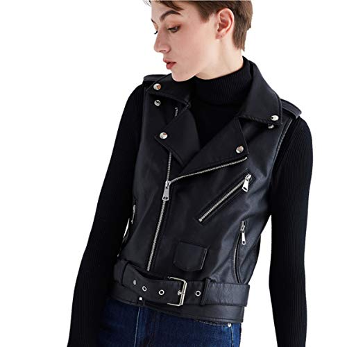 Women Leather Vest Motorcycle Biker Classic Faux Cowhide Carry Vintage Vest with Adjustable Belt (Medium, Black)