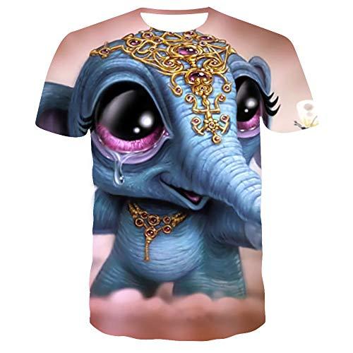 Sunofbeach Unisex 3D T-shirt grappige print casual korte mouwen T-shirts thee tops, blauwe Indiase schattige olifanten grappig dier T-shirts voor mannen vrouwen