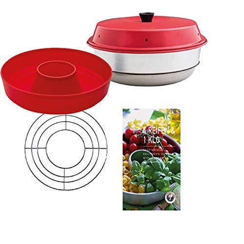 Omnia Backofen 4-teiliges Spar-Set   Backofen + Silikon-Backform 2.0 + Vegetarische Kochideen Kochbuch + Aufbackgitter