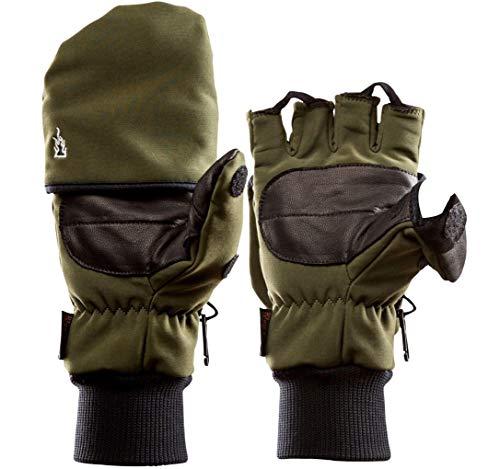 K & S The Heat Company Softshell Thinsulate Wärme Handschuhe Heat 2 Oliv Braun Schwarz Jagdhandschuhe Outdoorhandschuhe Skihandschuhe Snowboardhandschuhe mit Handwärmer (Grün, 7)