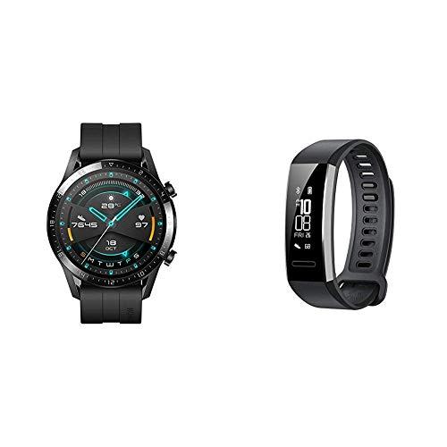 Huawei Smartwatch Watch GT 2, 46 mm, Durata della Batteria Fino a 2 Settimane, GPS, 15 Modalità di Allenamento + Huawei Band 2 Pro Smartwatch, Display da 0.91 , Resistente all acqua fino a 5 ATM