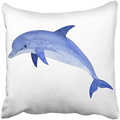 Emvency Decorative Throw Pillow Covers Cases Navy Fish Dolphin in Water Splash Watercolor Tattoo product image