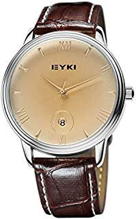 EYKI Fashion Classic Lover's Watch Table Quartz Calendar Leather Watchband EET8731 Men Male Brown