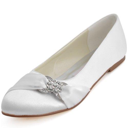 ElegantPark EP2006 Women Closed Rhinestones Comfort Flats Pleated Satin Wedding Bridal Shoes White US 9