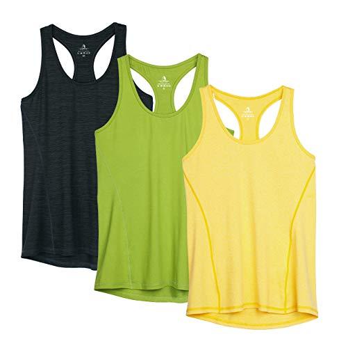 icyzone Débardeur de Sport Femme Dos Nageur Yoga Shirt sans Manches Running Fitness Tank Top, Lot de 3 (M, Bleu Noir/Vert d'herbe/Jaune)