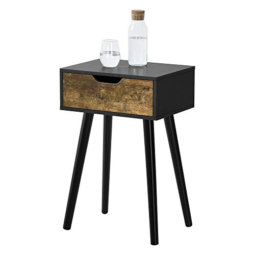 [en.casa] Beistelltisch Östersund mit Schublade 60x40x30 cm Kommode Retro Nachttisch Schubladentisch Massivholz Spanplatte Schwarz/Dunkler Holzton