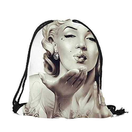 LINADEBAO Damen Monroe Tätowierung Totenkopf Bilder Kordelzug Rucksack Reise Softback 3D Bedruckt String Bag, 002