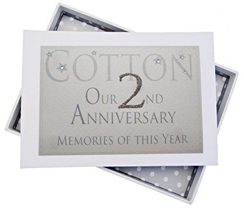 White Cotton Cards 2º Aniversario de algodón Recuerdos de Este año, pequeño álbum, Purpurina y Palabras, Madera, Blanco, 12.5x17.5x2.5 cm