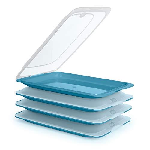 GK K&G - Juego de fiambreras Planas apilables, ahorran Espacio, con Bandeja para Servir integrada, recipientes herméticos para el frigorífico (4X Ocean)